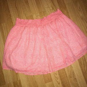 Pink and white swishy skirt